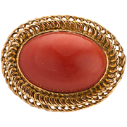 Antique Victorian large natural oxblood coral cabochon brooch 18 k yellow gold frame