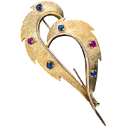 REDUCED Vintage brooch ruby sapphire 18 k yellow gold circa 1960