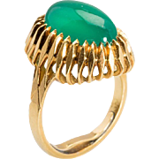 REDUCED Vintage impressive Chrysoprase  cocktail ring / right hand ring 18 k yellow gold circa