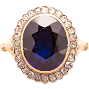 Antique Belle Epoque rose-cut diamonds lab-made sapphire cluster ring 18 k yellow gold ...