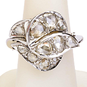 Vintage large rose-cut diamonds cocktail ring/ right hand ring 18 k white gold