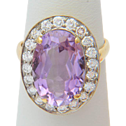 Vintage 1.00 carat TW diamonds 5.50 carat Amethyst Russian Soviet cluster ring 18 ...
