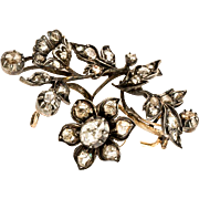 "Antique Georgian diamond ""Tremblant"" flower spray brooch"