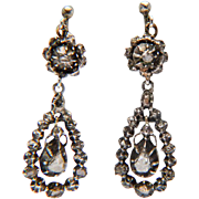 Antique Georgian rose-cut diamond silver drop earrings circa 1810 s