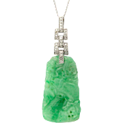 Art Deco Certified Natural Jadeite-Jade pendant diamond platinum 950  white gold 14 k circa ..