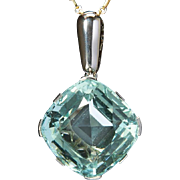 Art Deco Natural Aquamarine 55 carats French pendant Platinum and 18 k white gold