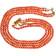 Antique Victorian natural untreated coral beads necklace with antique 18 k gold Etruscan ...