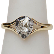 Antique Georgian rose-cut diamond solitaire ring 14 k yellow gold silver top