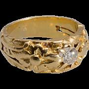 Antique Art Nouveau diamond ring 18 k yellow gold