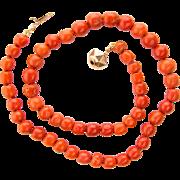 Antique Victorian reddish deep orange bright natural untreated coral necklace