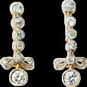 Vintage diamond earrings 1 carat wt diamonds long drop knot earrings 18 k yellow and ...