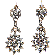 Antique Late Georgian - Early Victorian rose-cut diamond silver drop earrings circa 1830 s