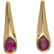 Vintage Ruby 0.70 cwt drop earrings 18 k yellow gold circa 1980 s