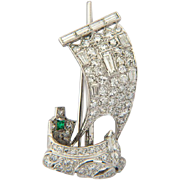 Art Deco sail boat brooch 1.80 cwt diamond emerald circa 1935 s platinum 18 ...