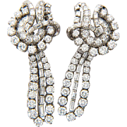 Vintage diamond earrings 7.30 tcw diamond day and night platinum clip pendant earrings