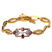 Vintage Art Deco bracelet circa 1930 rose-cut diamond ruby pearl 18 k yellow gold