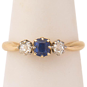 Antique ring Victorian three stones ring diamond and blue stone 18 k yellow gold ring ...