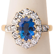 Vintage Ceylon sapphire diamond cluster ring platinum 18 k yellow gold Lady Di engagement ring