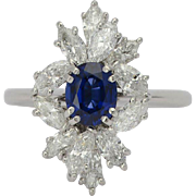 Vintage diamond and sapphire ring circa 1970 platinum 950 engagement ring / anniversary ring /