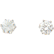 Vintage diamond earrings 1.11 cwt 18 k white gold stud earrings I.G.L ...