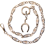Antique Victorian Niello silver 800 watch chain / necklace 17.3 inches