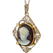 Antique Victorian hard stone cameo pendant diamond pearl circa 1890