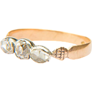 Antique diamond ring Georgian three stones diamond ring / halve band 18 k yellow gold and ...