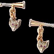 Antique fox cufflinks diamond ruby 14 k yellow gold platinum circa 1900