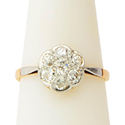 Antique Victorian diamond ring old European-cut 0.84 cwt diamonds daisy ring engagement ring .