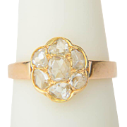 Antique diamond ring Victorian circa 1890 rose cut diamonds daisy ring 18 k yellow gold