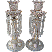 Beautiful Pair of Pink White and Gold Diamond Medallion Mantel Lusters Prisms Candleholders