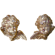 Vintage Pair of French Gold Winged Cherub Putti Architectural Wall Art