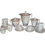 Charming Art Deco Pink Roses Limoges Coffee Set with 8 Cups and Saucers