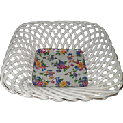 Vintage Warwick Erphila Cheery Chintz Open Lattice Square Porcelain Dish