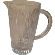 Beautiful Tiffany & Co Atlas Pattern Roman Numeral Glass Pitcher