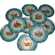 10 E Bavaria Gold Encrusted Game Bird Turquoise Dinner Plates