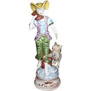 Tall Vintage Capodimonte Figurine Boy with Dog and Wood Log