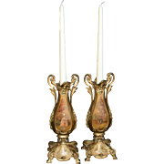 Pair of Antique French 19th Century Gilt Bronze Bougeoir Candalabra Romantic