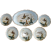 Outstanding Antique Lewis Straus and Sons Limoges Large Gamebird Platter and Five Plates 9 1/4