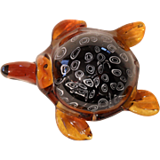 Murano Italy Amber Black and White Sea Turtle Paperweight