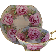 Stunning Vintage Gold Footed Aynsley Pink Cabbage Rose Teacup and Saucer