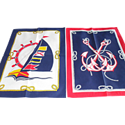 Pair of New Vintage S.E.I.T Italy Cotton Nautical Theme Tea Towels