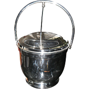 Vintage Poole Silver Co. Silverplated Hinged Ice Bucket with Glass Liner Taunton Mass