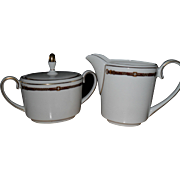 Wedgwood for Ralph Lauren Equestrian Bridle Trim Creamer and Sugar