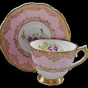 Vintage Royal Albert Violet Pink Gold Teacup and Saucer