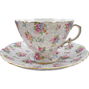 Hammersley Pink and Blue Pebbled Chintz Quatrefoil Teacup and Saucer 2348