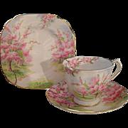 Vintage Roya Albert Pink Blossom Time Teacup Saucer Plate Trio 1936