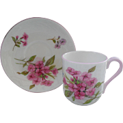 Miniature Shelley Pink Stocks 13428 Teacup/Saucer Canterbury