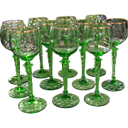 Eleven Vintage Spring Green Wine Glasses Gold Trim