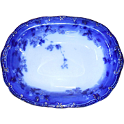 Gorgeous Early Ridgway Lugano Flow Blue Open Vegetable Dish 9 3/4""